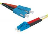 Jarretière optique duplex HD mono OS2 9/125 SC-UPC/LC-UPC jaune - 0,5 m