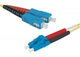 Jarretière optique duplex HD mono OS2 9/125 SC-UPC/LC-UPC jaune - 15 m