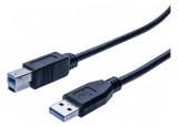 Cordon éco USB 3.0 type A / B noir - 2,0 m