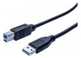 Cordon éco USB 3.0 type A / B noir - 3,0 m