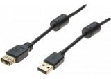 Rallonge USB 2.0 type A / A  avec ferrites noire - 1,5 m
