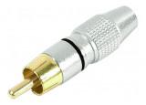 Connecteur RCA M métal repère N ou B, contacts or, 6mm