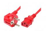 Cordon d'alimentation PC CEE7 / C13 rouge - 1,8 m
