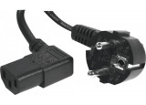 Cordon d'alimentation PC CEE7 / C13 coudé noir - 1,8 m