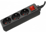 DEXLAN Multiprise 3 prises avec interrupteur noire - 1,5 m
