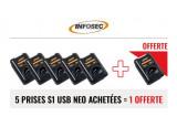 INFOSEC 5 Prises S1 USB NEO parafoudre + 1 offerte