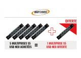 INFOSEC 5 Multiprises S5 USB NEO parafoudre + 1 offerte