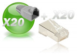 Lot de 20 connect. 8-8 RJ45 blinde et manchon