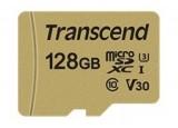TRANSCEND Carte micro SDXC UHS I 500S Class 10 128 Go adaptateur SD inclus