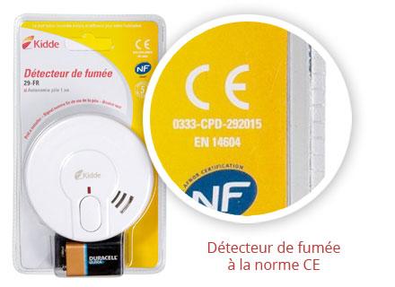 Détecteur de fumee norme CE