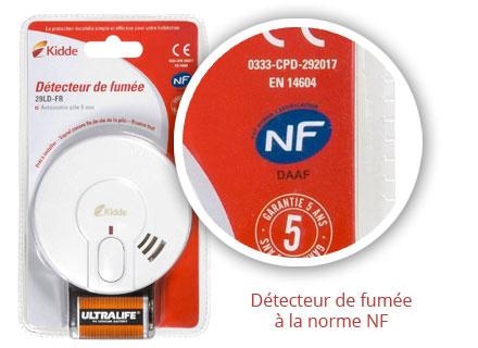 Détecteur de fumee norme NF