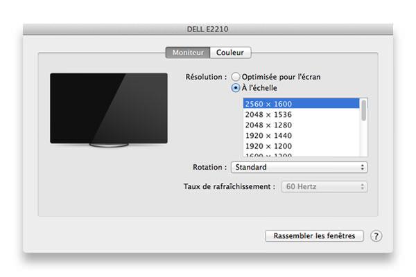 Résolution maximale Displayport 2560 x 1600