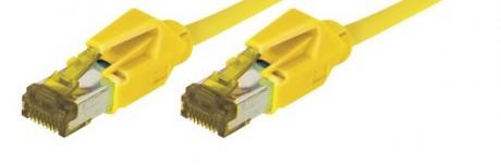 c ble rj45 cat 7 s ftp a connecteurs cat 6a jaune 2m. Black Bedroom Furniture Sets. Home Design Ideas