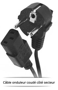 Cable onduleur coudé côté secteur