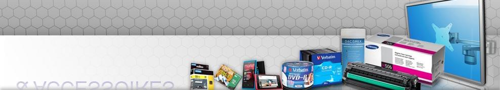 CD, DVD, Blu-Ray, DLT, SDLT, LTO, cartouches jet d'encre, toner laser, rubans matricielles, supports écrans, mobilier informatique, nettoyage informatique, accessoires mobilité, piles, antivols...