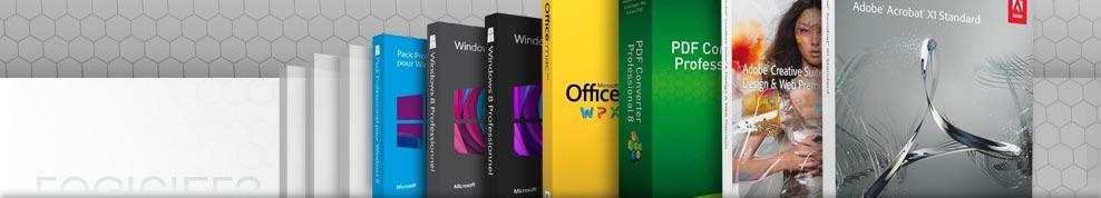 Windows, Mac OS, logiciels bureautique, logiciels graphique, utilitaires, Abode, Microsoft, Symantec...