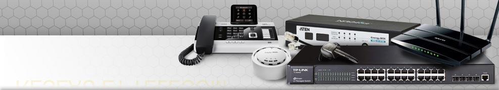 switchs réseaux, modems, routeurs wifi, point d'accès wifi, antenne wifi, KVM, CPL, serveurs NAS, serveurs d'impression, casques téléphoniques, DECT, téléphonie IP et VoIP, Talkies Walkies, smartphones...